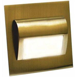 PREMIUMLUX LED nástěnné schodišťové svítidlo BERYL mosaz 1,5W 9xSMD3014 12V DC studená bílá LUX01051